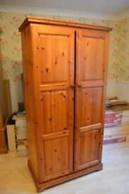 Large Solid pine Wardrobe with Small Drawer unit and Mirror