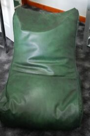 Wedge Bean Bag in Green leather