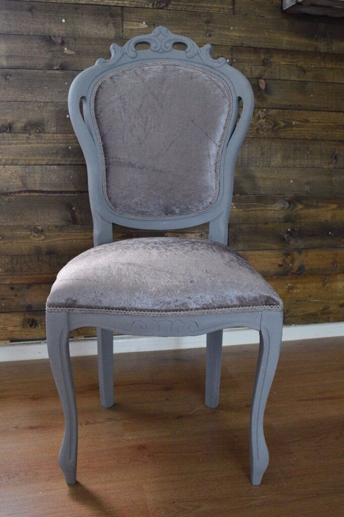 Shabby Chic Louis Chair Grey With Silver Velvet Fabric Hallway Bedroom Dining