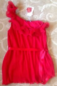 Sexy Asymmetric Pleated Sleeveless Ruffled Red Top w/ satin ribbon tie by George