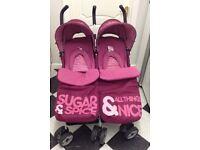 COSATTO DOUBLE BUGGY STROLLER 'SUGAR & SPICE' C/W ACCESSORIES SUPERB!!!