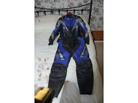 Motorcycle Leather 2 piece Jacket and Trousers Mens Medium size see description