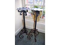 2 x Vintage black iron plant stands / torchère