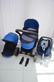 ICANDY PEACH 3 COBALT BLUE PRAM PUSHCHAIR CARRYCOT PLUS MAXI COSI PEBBLE CAR SEAT