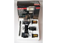 Metz 45 CT-5 dual head camera flash with accessories, battery pack, charger, box