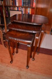 Antique vintage nest of tables, Queen Anne style, traditional mahogany by H.Shaw from London c.1920