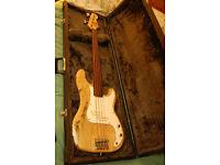 Encore Fretless bass precision copy with hard case