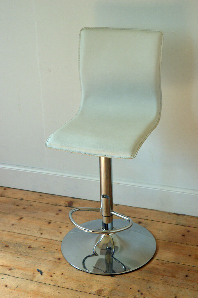 vintage retro adjustable chrome white leather bar stool pub stool club stool