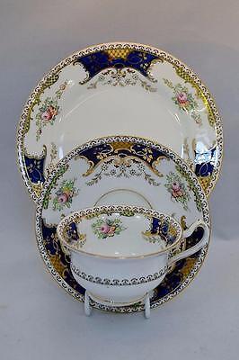Pretty Vintage Fenton Kenmare Tea Trio Cup Saucer and Tea Plate Cobalt Batwing