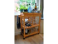 Wooden kitchen trolley - two drawers - one pull out basked - wine rack - towel rail