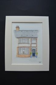 SF custom artwork. Personalised pen & watercolour picture of your home, wedding venue, business etc.