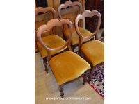 ANTIQUE SET OF FOUR REGENCY BALLOON BACK DINING CHAIRS