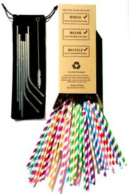 150 x Paper Straws, 6 x Stainless Steel Straws | 100% Recycled Packaging | cleaning Brush | Pouch