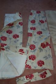 Pair of fully lined curtains made to measure used in good condition with tie backs