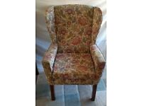 WING BACK CHAIR - FIRESIDE ARMCHAIR FULLY UPHOLSTERED in FLORAL FLOWER PATTERN FABRIC