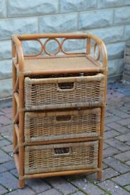 Rattan chest of drawers, small with 3 drawers