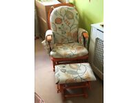 Habebe glider rocking nursing chair and stool with recline