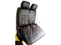 VW TRANSPORTER T5 VAN SEAT COVERS BLACK BENTLEY RED STITCH