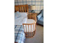 BabyBay Convertible Bedside Cot - Natural Beech