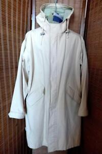 NEW 12 Calvin Klein Raincoat Waterproof Off-white Cream Long Rain Jacket Hood Ladies L Car Coat Sexy Wife Gift Idea