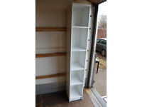 White narrow bookshelf / bookcase / shelving unit