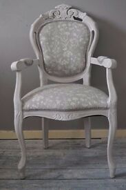 Shabby Chic French Louis Chair with Arms Laura Ashley Fabric Dining Bedroom