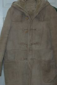 sheep skin duffle coat mens large