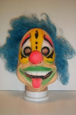 Vintage CLOWN MASK ben cooper HAIRY SCARY hair collegeville HALLOWEEN party