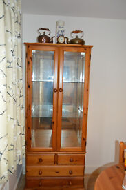 GLASS AND PINE DISPLAY CABINET