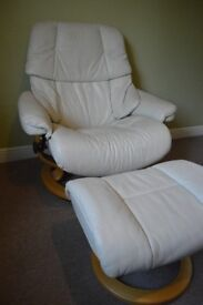 Ekornes Stressless Reclining Cream Leather Chair with Footstool