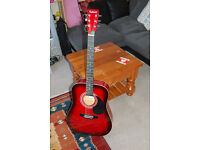 Red Suburst Acoustic Guitar with New Strings + Electronic Tuner + Case + Strap