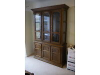 Large Welsh dresser display cabinet with glass doors and shelves