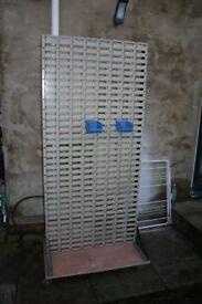mobile lin bin rack - double sided