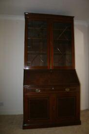 vintage solid wood large bureau bookcase