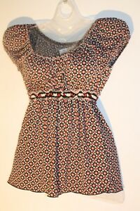 NEW ~ Max Studio ~ Coral Peach Ivory Black Stretchy Empire Baby Doll Top Size M