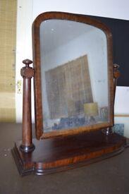 Dressing table swing mirror. Antique Victorian mahogany swivel dressing vanity toilet mirror.