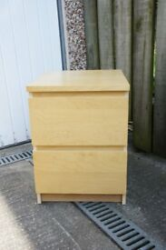 Ikea Malm, Bedside cabinet in Beech / Birch finish.