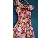 Lindy Bop - Red Floral Vintage Style Dress (Size 12)