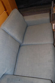 2 seater sofa / fabric / blue- gray:)