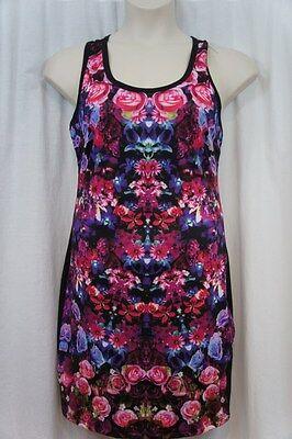 Rampage Dress Sz L Pink Black Multi Floral Sleeveless Cutout Back Cocktail Dres](Cut Out Dres)