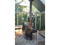 WOODBURNER STOVE AND FLUE/CHIMNEY FOR GREENHOUSE- OUTSIDE