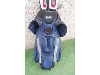 Set of John Letters T8 irons and hybrids with cart bag