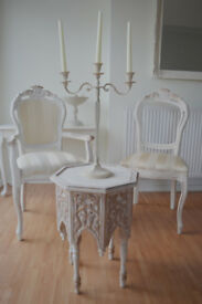 *** BEAUTIFUL & UNIQUE *** French Antique Shabby Chic Two Chairs & Coffee Table !!!