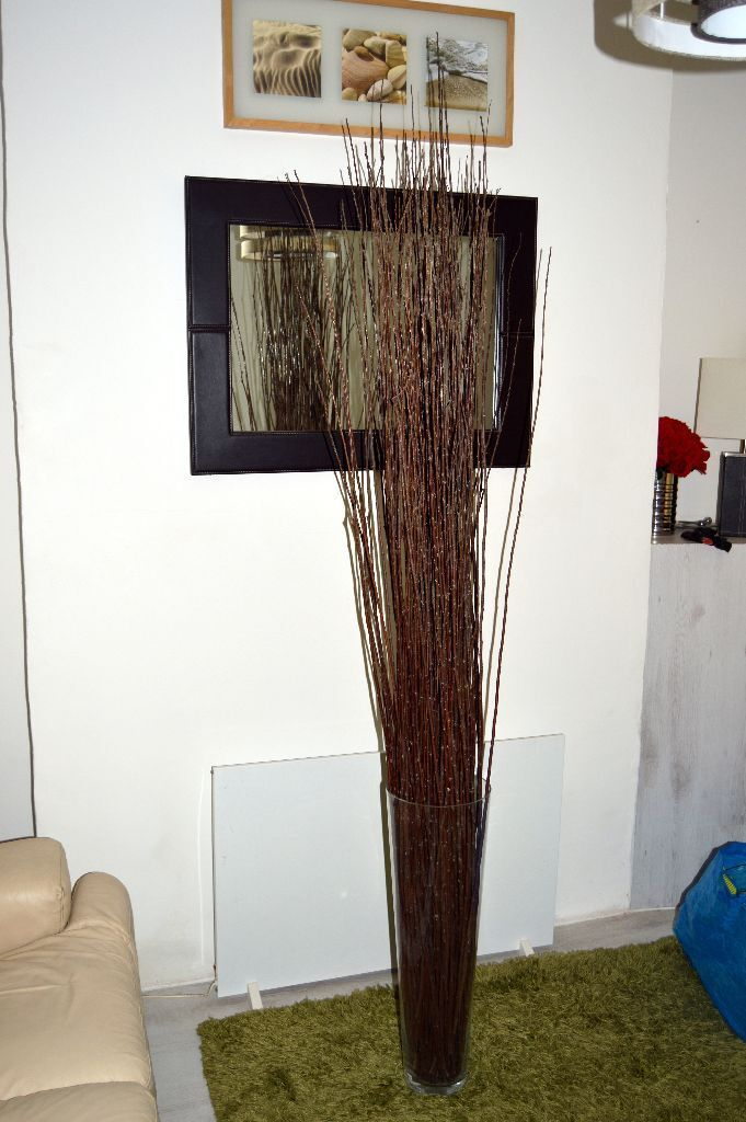 Large Clear Glass Floor Vase With Long Twigs Branches