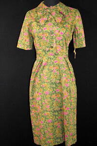 RARE-1950S-DEADSTOCK-FLORAL-COTTON-DRESS-SIZE-6