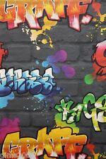 Black / Multi Graffiti Brick Wallpaper 237801