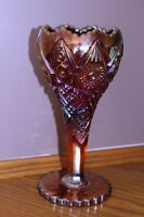 Rare Vint Indiana Glass Heirloom Carnival goblet Deep Red & Gold