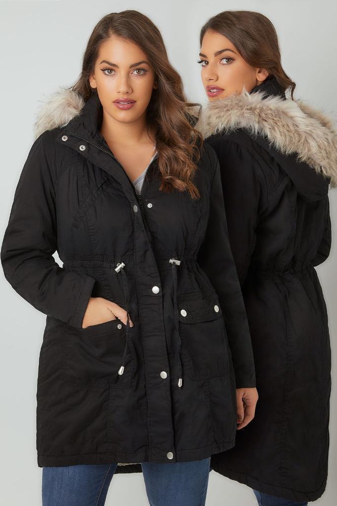 Ladies black parka coat size 16