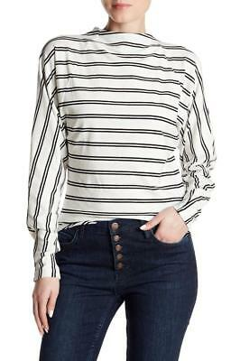 FREE PEOPLE MS SIZE LARGE IVORY BLACK MOCK NECK ARMORED STRIPED FASHION TOP