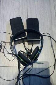 Xbox 360 gaming headset and speakers